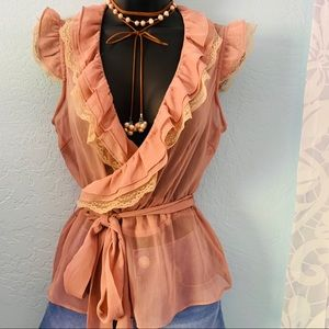 Forever sheer wrap blouse. Size small